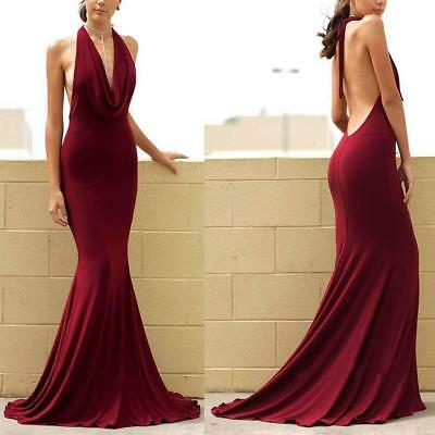 Women Sexy Deep V Neck Backless Bodycon Gown Evening Club Long Maxi Dress