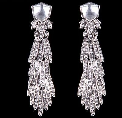 Art Deco Silver Drop Dangle  Earrings Cz Crystals Xmas Gift Ladies As0A