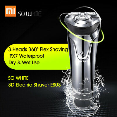 Original Xiaomi SO WHITE ES03 Electric Shave Razor 3 Head Shaving Clean Dry Wet
