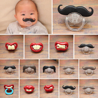 Orthodontic Kids Funny Dummy Teeth Baby Beard Pacifier Mustache Nipples Silicone