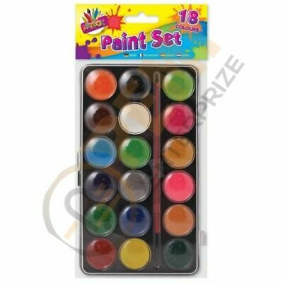 Kids Children Colouring Art Craft Watercolour 18 Assorted Paints And Brush Set