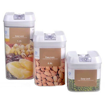 UK_ LC_ Rectangular Dry Food Flour Beans Airtight Flip Storage Container Holders