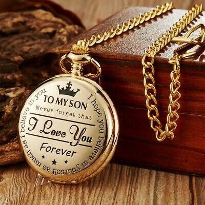 """To MY SON"" Laser Word Quartz Pocket Watch Men Pendant Black Chain Boy Gifts"