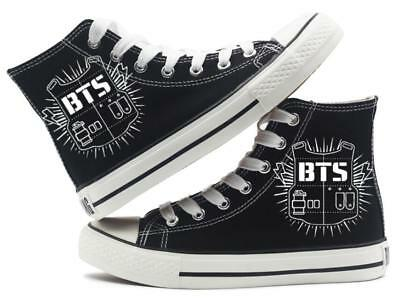 BTS High-top Sneakers Black Canvas Shoes Unisex Summer Spring Autumn