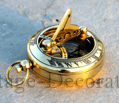 Vintage Shiny Brass Sundial Compass Nautical Compass Pocket Gift Astrolabe Item