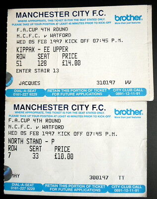 Manchester City v  Watford  fa cup 4th round  5-2-1997  ticket stubs x 2