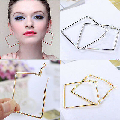 Gold Silver Plated Fashion Jewelry Large Square Shape Hoop Charm Women Earrings