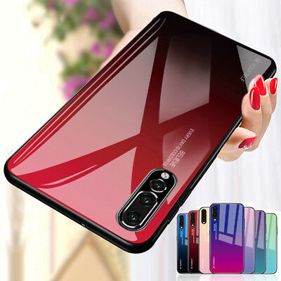 Gradient Case For Huawei Mate 20 P30 P20 Pro Tempered GLASS BACK Hybrid Cover
