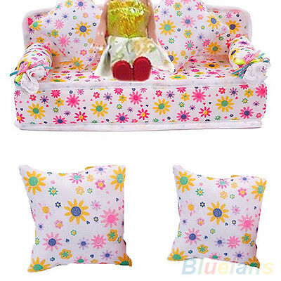 Uk_ Sale! Mini Furniture Flower Sofa Couch With 2 Cushions For Barbie Doll House