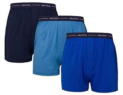 Nautica Men's 3 Pack Boxer Modal Cotton Fit Boxer (M) Navy- Sky Blue- Dark Blue