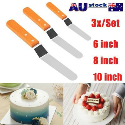 """3X 6-10"""" Stainless Steel Wooden Handle Spatula Palette Butter Cake Cream Knife"""