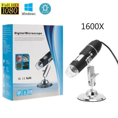 1600X Zoom 8 LED Digital USB Handheld Microscope PC Endoscope Camera Magnifier
