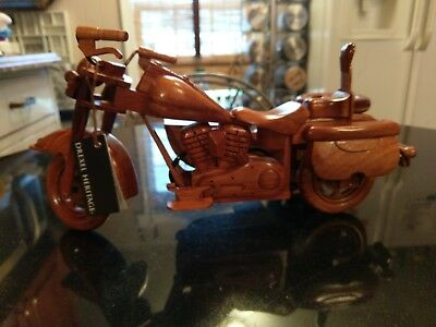Brand New Carved Wood Motorcycle With Side Car
