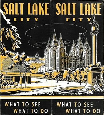 1948 SALT LAKE CITY Travel Brochure Road Map Hotel Rates National Parks Saltair