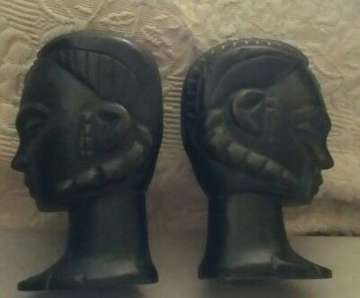 Vintage Carved African Kenya Tribal Native Man Woman Head Bust  Black Dark Wood