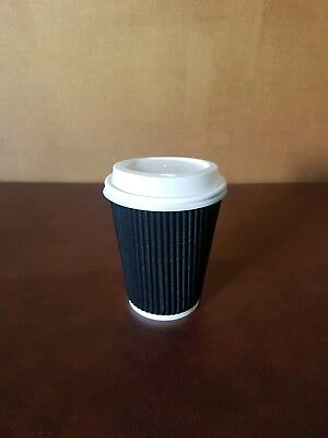 100 x 12oz Black Kraft Ripple Insulated Paper Cups With White Sip Through lids