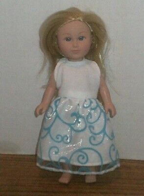 "6/6.5"" Doll Clothes-fit Mini American Girl My Life-Party Dress-White Blue Swirl"