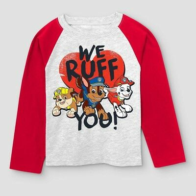 NICKELODEON PAW PATROL Toddler Boys' We Ruff You L/S Shirt - Red Valentine's Day