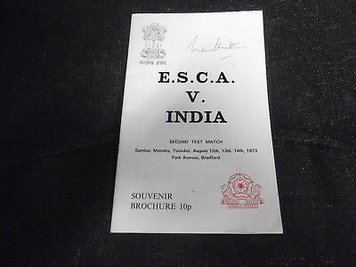 E.S.C.A. v India 2nd Test at Bradford 1973 - Signed by Len Hutton
