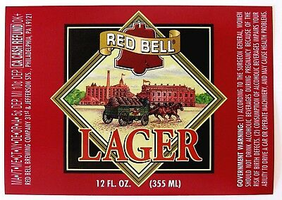 Red Bell Brewing LAGER  beer label PA 12oz