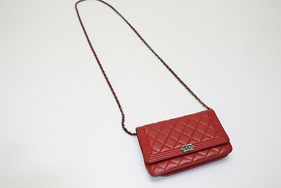 80eb03781a3713 CHANEL LIGHT RED Quilted Caviar Medium Boy Bag - $6,495.00 | PicClick