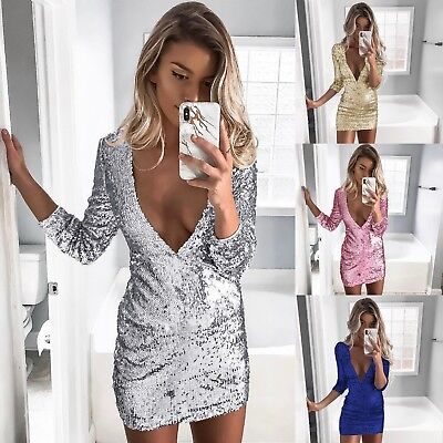 0c1ba90a Sexy Chic Womens Plunge Evening Party Shining Bling Sequin Mini Dress Club  Wear
