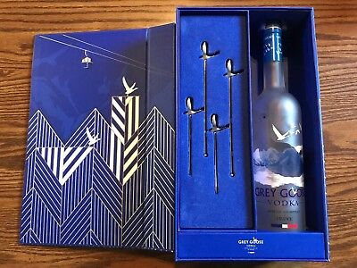 Grey Goose Vodka Cocktai Drink Stirrers and Olive Picks Gift Box + Empty Bottle