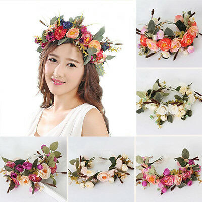 UK_ Women Wedding Boho Flower Hair Garland Crown Headband Floral Wreath Headpiec