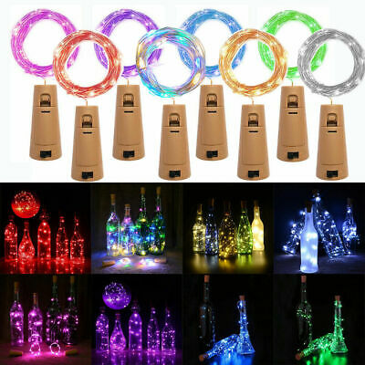 10 20 LED Wine Bottle Cork Fairy Lights Warm Cool White Multi-Color Xmas Party