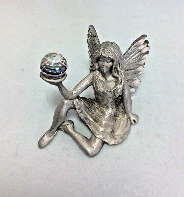 """Tiny Russ Pewter Seated Fairy Figurine Holding Crystal Ball #hm1859,  1 1/2"""""""