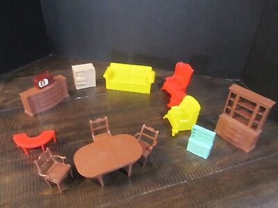 vintage doll furniture plastic mostly Marx one pyros set of 14 chair tv hutch