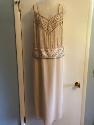 R & M Richards long 1 Pc that looks like 2 Pc Dress Ivory beige W/ beads Size 10
