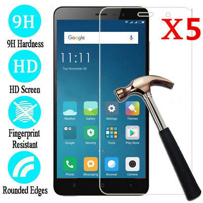 5Pcs 9H Premium Tempered Glass Screen Protector For Xiaomi Note 4X 5A Prime Pro