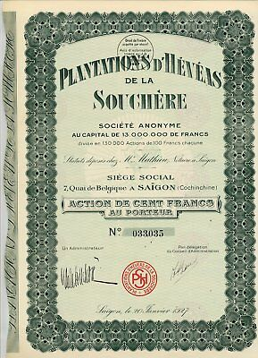 INDOCHINE / LOT : 10 X PLANTATIONS D'HEVEAS DE LA SOUCHERE ( Saigon ) 1927