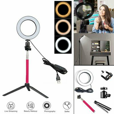 16cm LED Ring Light with Stand Lighting Kit for Camera Phone Youtube Live Makeup