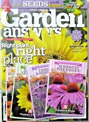 GARDEN ANSWERS MAGAZINE ISSUE AUGUST 2018 WITH 4 x PACKS OF SEEDS ~ NEW ~