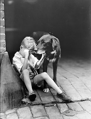 "A young boy and his best friend, The Old Dog, antique photo, 14""x10"""