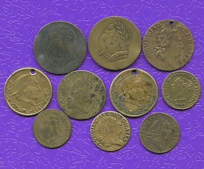 Lot Of 10 Vintage Gun Medal Type Thin Brass Tokens King George III & Queen Vic.