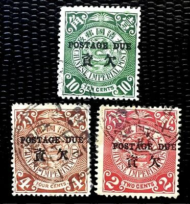 1904 China Stamps Postage due Over Print on Coil Dragon #J3 J4 J6 Mint H Rare