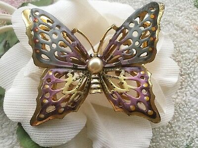 Antique vintage mid century retro Sterling w enamel large butterfly pin/brooch