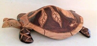 Hand Carved Solid Wood Turtle Sculpture Figurine