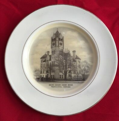 4 White County Indiana Collector Plates Vintage Monticello Courthouse Church