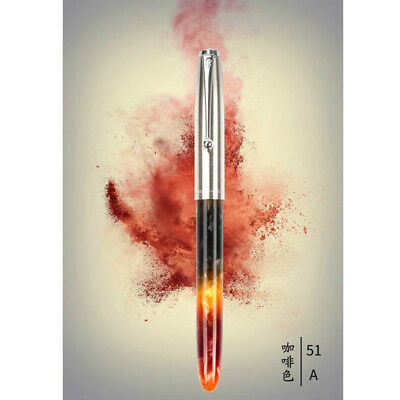 Jinhao 51A  Amber Acrylic Fountain Pen Metal Cap Extra Fine Nib 0.38mm Writing