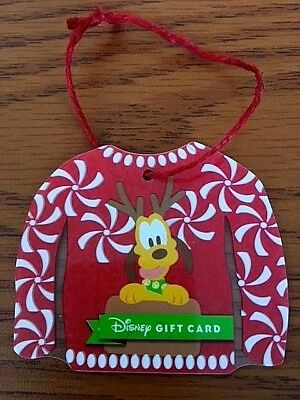 Disney Parks Pluto Reindeer Christmas Sweater Gift Card Christmas Ornament