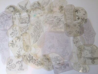 30 Classic Original Acetate Stencils From Bert Grimms Hollywood Tattoo 70 80