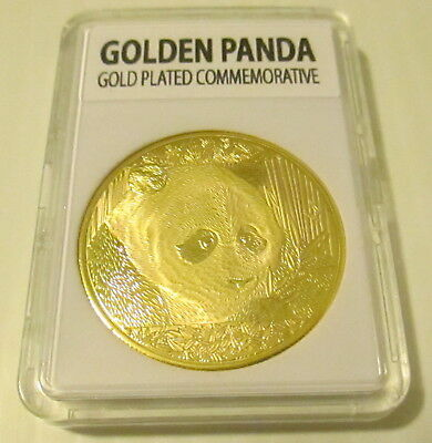 Golden Panda Beautiful Gold Plated 2018 Commemorative Coin Large Size 40mm
