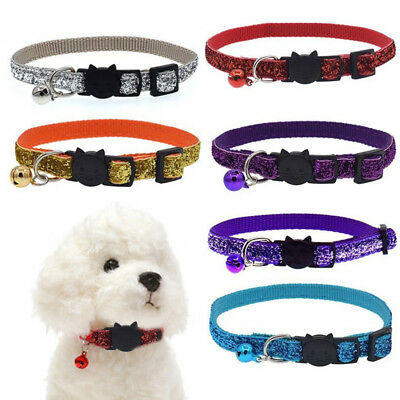 Cat Puppy Small Dog Pet Collar with Bell Kitty Buckle Glitter Adjustable 1PC