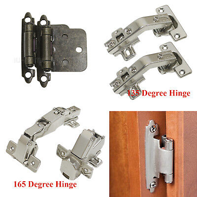 135 Self Closing Vintage Bronze Cabinet Cupboard Door Hinges Iron Overlay Hinges
