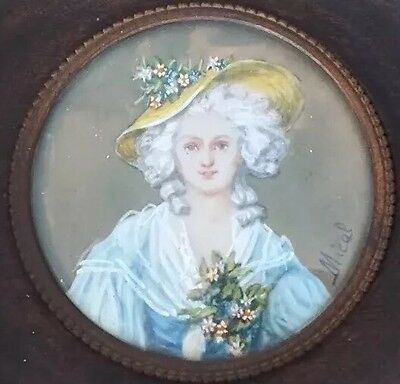 French Antique Miniature Painting Hand Painted Portrait Of Beautiful Lady Signed