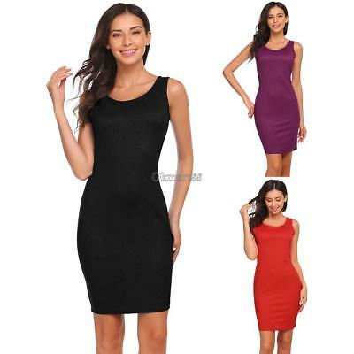 Women Casual O-Neck Sleeveless Solid Package Hip Slim Sexy Vest Dress OK 01